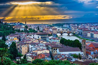 Firenze Sunset Poster by Inge Johnsson