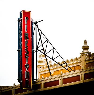 Firestone Vertical Neon Poster by David Waldo