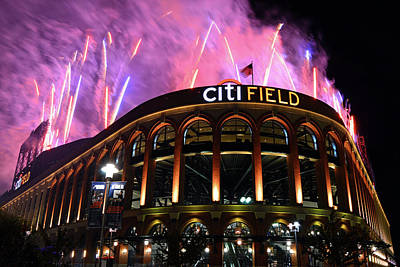 Fireworks Night At Citifield Poster by James Kirkikis