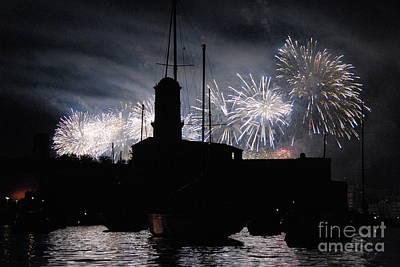 Fireworks Over Marseille's Vieux-port On July 14th Bastille Day Poster by Sami Sarkis