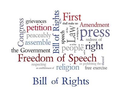 First Amendment - Bill Of Rights Poster by Antique Images