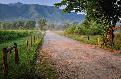 First Light - Sparks Lane At Cades Cove Tennessee Poster by Thomas Schoeller