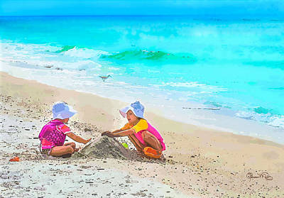 First Sand Castle Poster by Susan Molnar