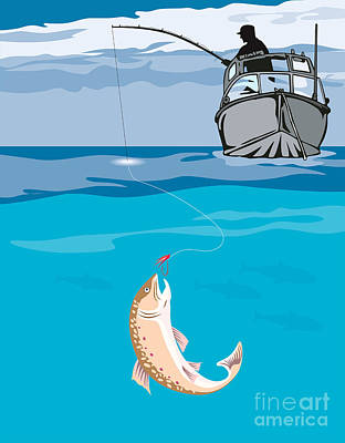 Fisherman Fishing Trout Fish Retro Poster by Aloysius Patrimonio