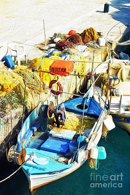 fishing boat in Crete Poster by HD Connelly
