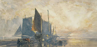Fishing Boats At Anchor   Sunset Poster by William Roxby Beverly