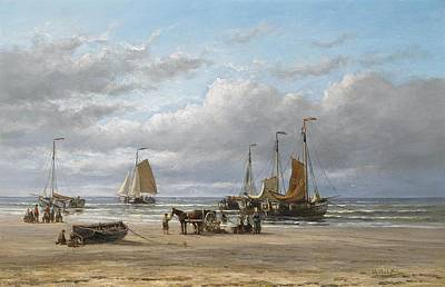 Fishing Boats On The Beach At Scheveningen Poster by Hendrik Hulk