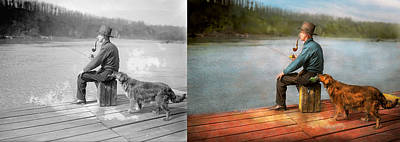Fishing - Booze Hound 1922 - Side By Side Poster by Mike Savad