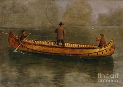 Fishing From A Canoe Poster by Albert Bierstadt