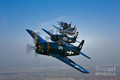 Five Grumman F8f Bearcats In Formation Poster by Scott Germain