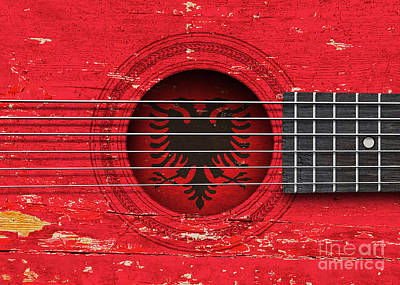 Flag Of Albania On An Old Vintage Acoustic Guitar Poster by Jeff Bartels