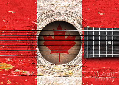 Flag Of Canada On An Old Vintage Acoustic Guitar Poster by Jeff Bartels