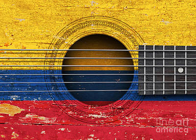 Flag Of Colombia On An Old Vintage Acoustic Guitar Poster by Jeff Bartels