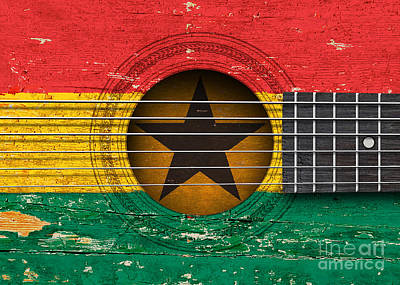 Flag Of Ghana On An Old Vintage Acoustic Guitar Poster by Jeff Bartels