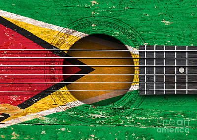 Flag Of Guyana On An Old Vintage Acoustic Guitar Poster by Jeff Bartels