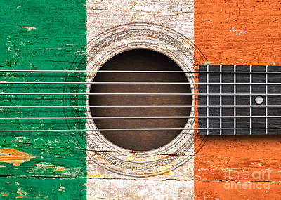 Flag Of Ireland On An Old Vintage Acoustic Guitar Poster by Jeff Bartels