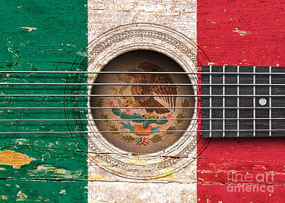 Flag Of Mexico On An Old Vintage Acoustic Guitar Poster by Jeff Bartels