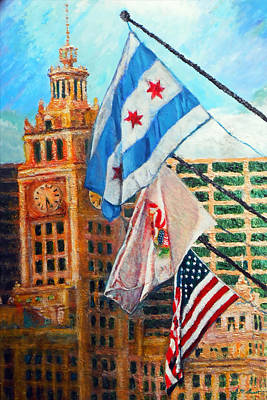 Flags Over Wrigley Poster by Michael Durst