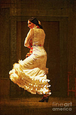 Flamenco Dancer #20 - The White Dress Poster by Mary Machare