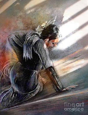 Flamenco Dancer On The Ground Poster by Miki De Goodaboom