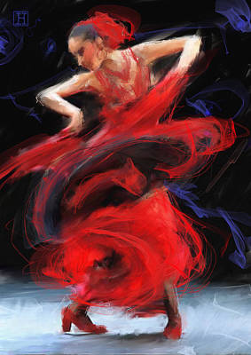 Flamenco In Red Poster by H James Hoff