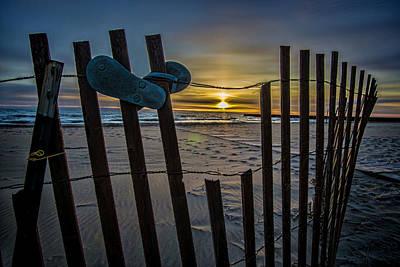 Flip Flops On A Beach At Sun Rise Poster by Sven Brogren