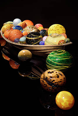 Float Boat Dale Chihuly Blown Glass Balls In Rowboat At The Rom  Poster by Reimar Gaertner