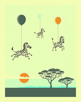 Flock Of Zebras Poster by Jazzberry Blue