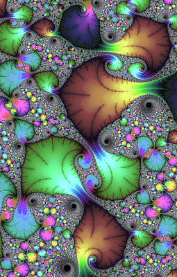 Floral Abstract Fractal Art Green Gold Brown Purple Poster by Matthias Hauser