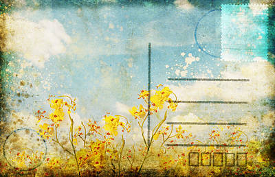 Floral In Blue Sky Postcard Poster by Setsiri Silapasuwanchai