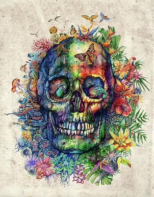 Floral Tropical Skull Poster by Bekim Art