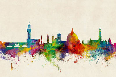 Florence Italy Skyline Poster by Michael Tompsett