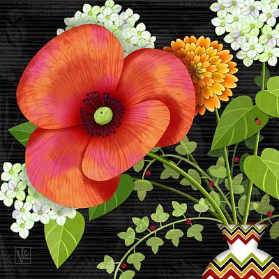 Flower Drama Poster by Valerie Drake Lesiak