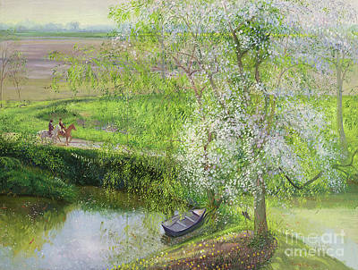 Flowering Apple Tree And Willow Poster by Timothy Easton