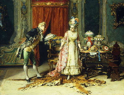 Flowers For Her Ladyship Poster by Cesare-Auguste Detti