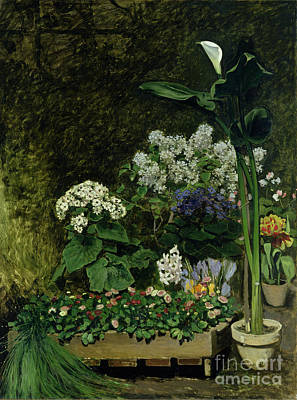 Flowers In A Greenhouse Poster by Pierre Auguste Renoir