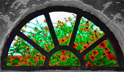 Flowers Through Basement Window At Monticello Poster by Bill Cannon