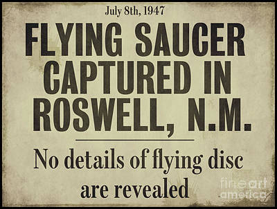 Flying Saucer Roswell Newspaper Poster by Mindy Sommers