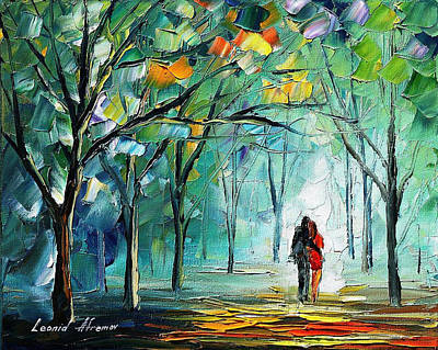 Fog Of Love - Palette Knife Oil Painting On Canvas By Leonid Afremov Poster by Leonid Afremov