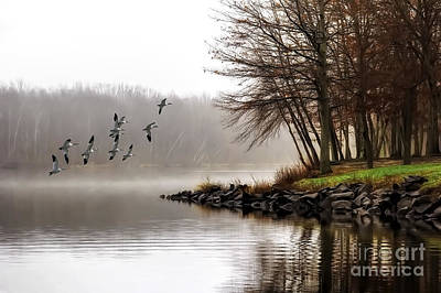 Fog On The Lake Poster by Tom York Images