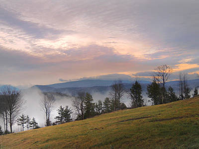 Fog Over The Connecticut River Valley Poster by Nancy Griswold