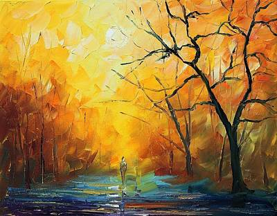 Fog - Palette Knife Oil Painting On Canvas By Leonid Afremov Poster by Leonid Afremov