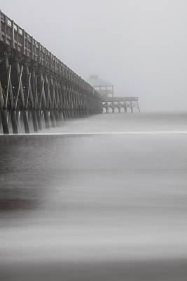 Foggy Folly Beach Pier Poster by John McGraw