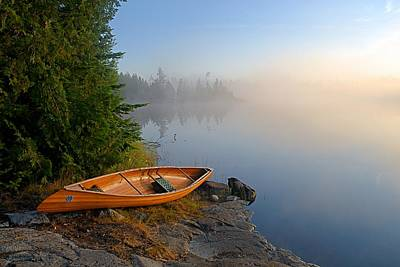 Foggy Morning On Spice Lake Poster by Larry Ricker