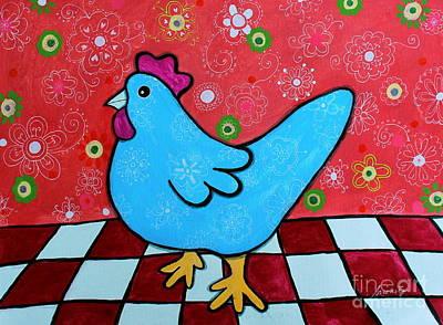 Folk Art Rooster Poster by Pristine Cartera Turkus
