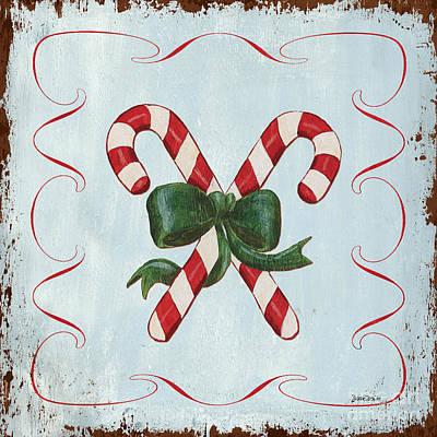 Folk Candy Cane Poster by Debbie DeWitt