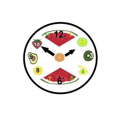 Food Clock Poster by Kathleen Sartoris