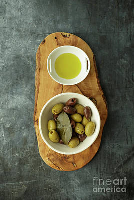 Food Still Life With Olives Poster by Edward Fielding