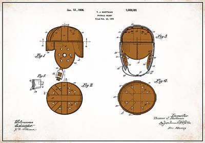 Football Helmet 1922 - White Poster by Mark Rogan