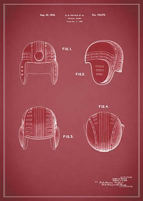 Football Helmet 1935 - Red Poster by Mark Rogan